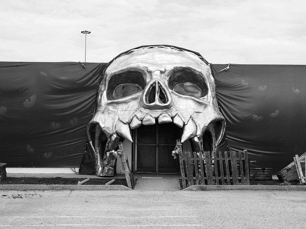 Spooky doorway to a Halloween-season attraction in Fort Worth, Texas. Source: Library of Congress